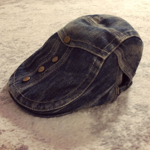 c063ebed416 Denim jean   brass studded newsboy   cabbie hat